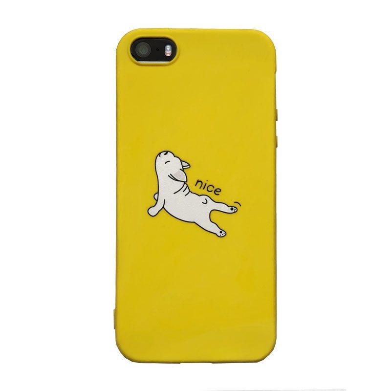 Apple iPhone 5/5S/SE silikónový kryt Yellow French Bulldog