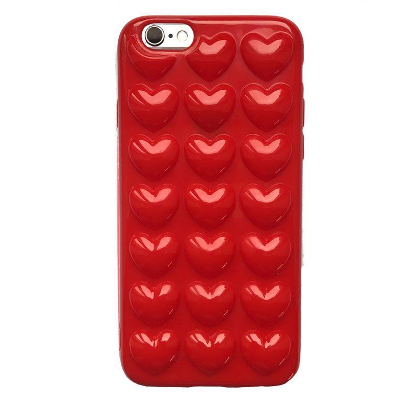 Apple iPhone 6/6S silikónový 3D kryt Red