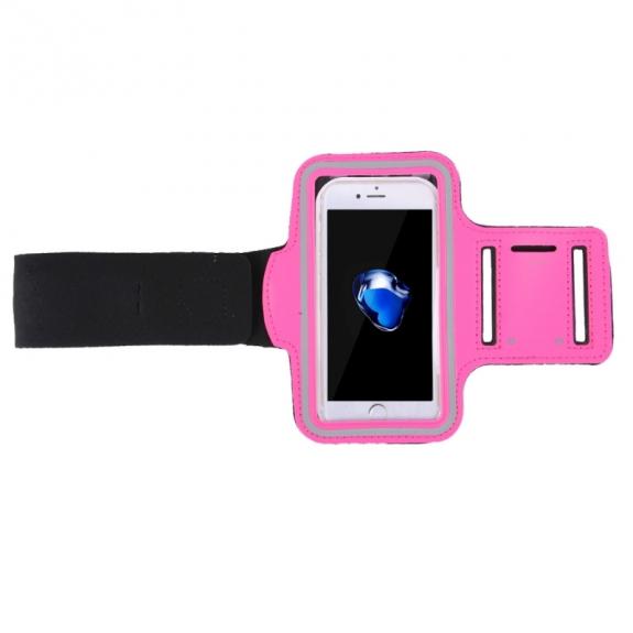 Športové púzdro na iPhone 7/8 Plus na ruku s vreckom na kľúče ružové