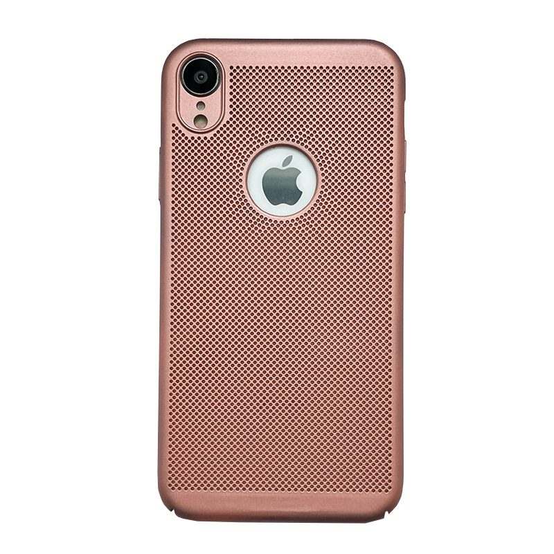 Plastový kryt na iPhone XR dierkovaný Rose Gold