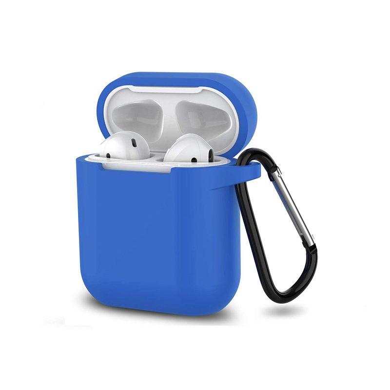 Obal na AirPods s držiakom silikónový Bright Blue
