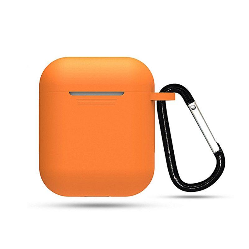Obal na AirPods silikónový s držiakom oranžový
