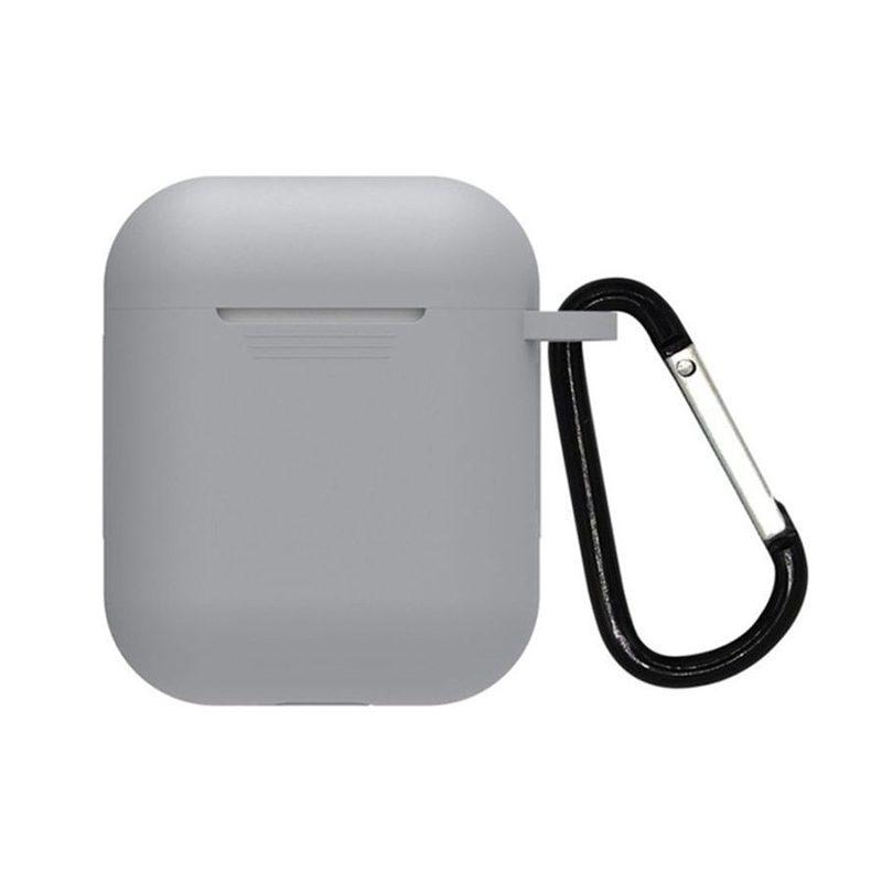 Obal na AirPods s držiakom silikónový sivý
