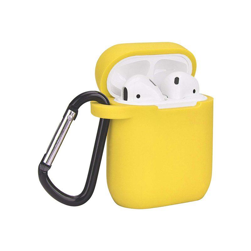 Obal na AirPods silikónový s držiakom žltý
