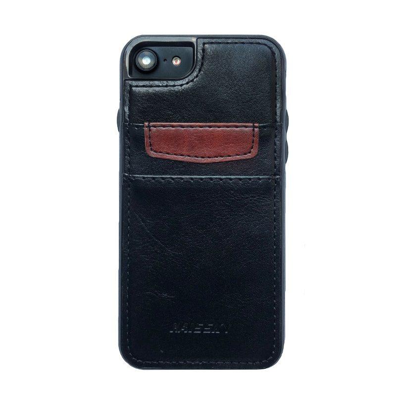 Silikónové kožené púzdro na iPhone 7/8/SE 2 s vreckom na doklady