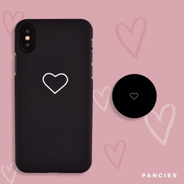 PopSocket White Heart Black