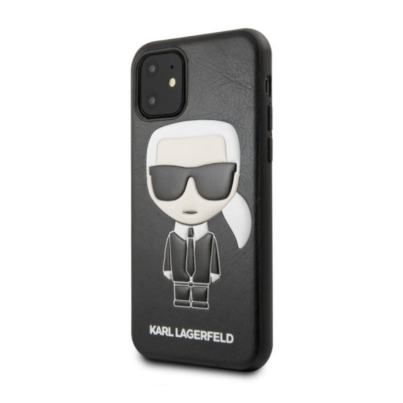 Karl Lagerfeld kožený kryt iPhone 11 Black Iconic