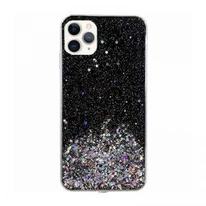 Silikónový kryt na iPhone 11 Pro Max Stars Glitter Black