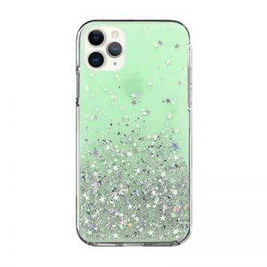 Silikónový kryt na iPhone 11 Pro Stars Glitter Green