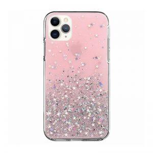 Silikónový kryt na iPhone 11 Pro Stars Glitter Pink