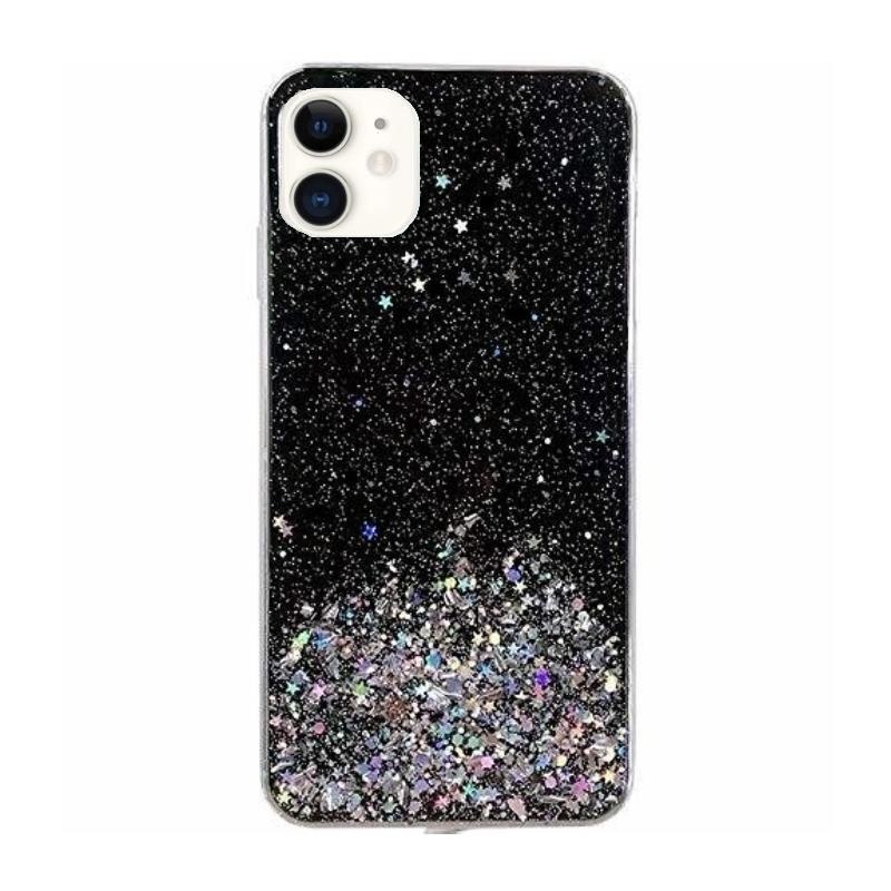 Silikónový kryt na iPhone 11 Stars Glitter Black