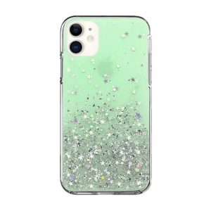 Silikónový kryt na iPhone 11 Stars Glitter Green
