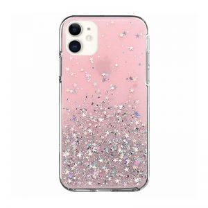 Silikónový kryt na iPhone 11 Stars Glitter Pink