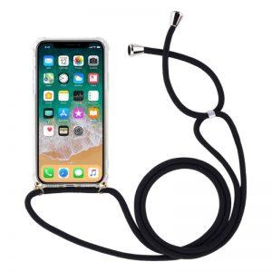 Silikónový kryt so šnúrkou na iPhone XR priehľadný
