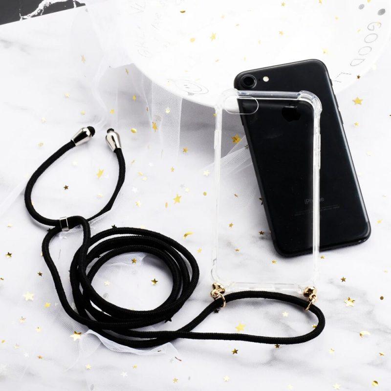 Silikónový kryt so šnúrkou na iPhone priehľadný Rope Black