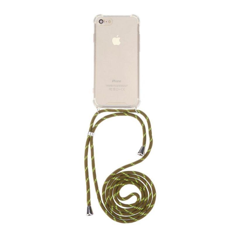 Silikónový kryt so šnúrkou na iPhone priehľadný Green