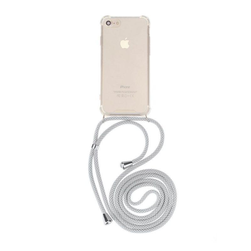Silikónový kryt so šnúrkou na iPhone priehľadný White