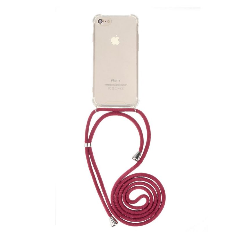 Silikónový kryt so šnúrkou na iPhone priehľadný Red