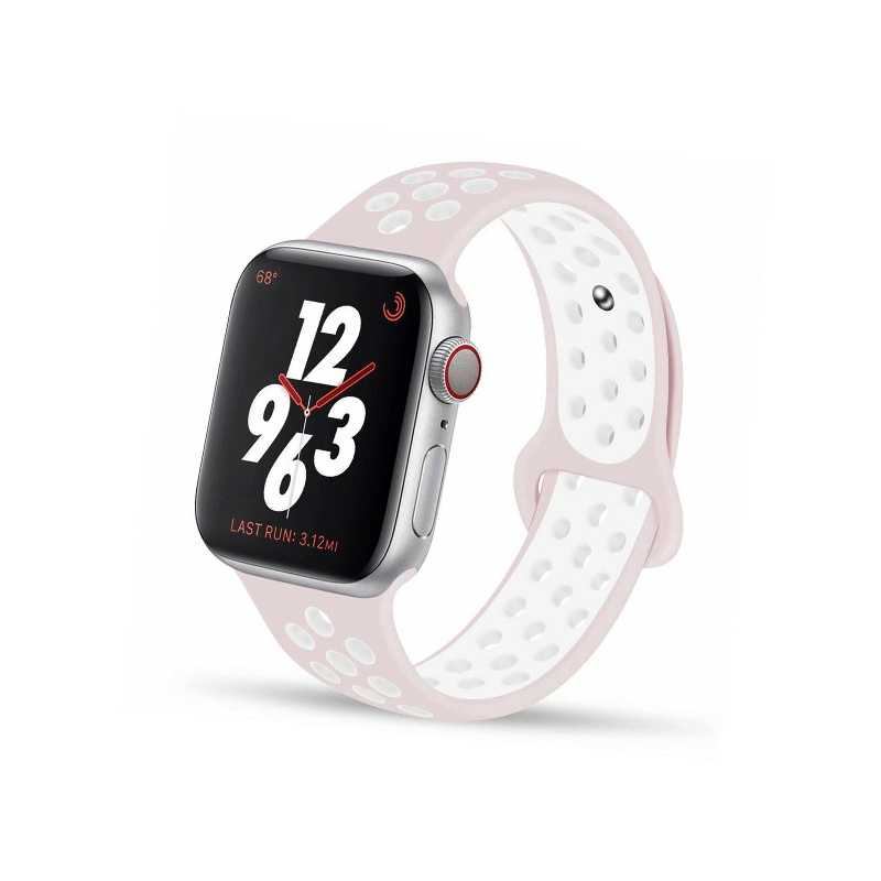 Remienok na Apple Watch 38mm/40mm sport ružovo-biely