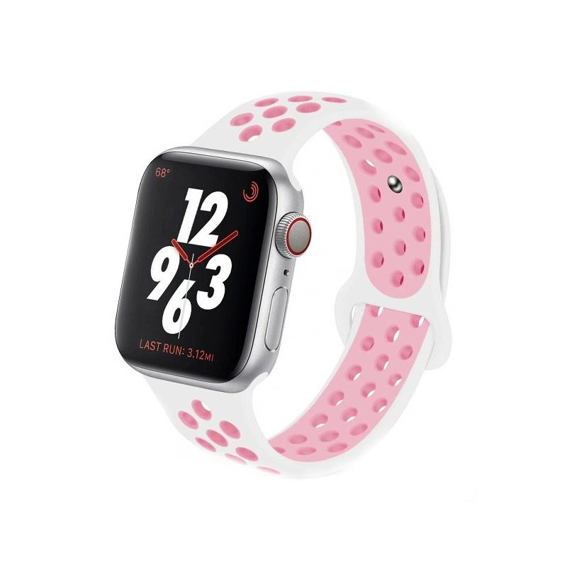 Remienok na Apple Watch 38mm/40mm sport bielo-ružový