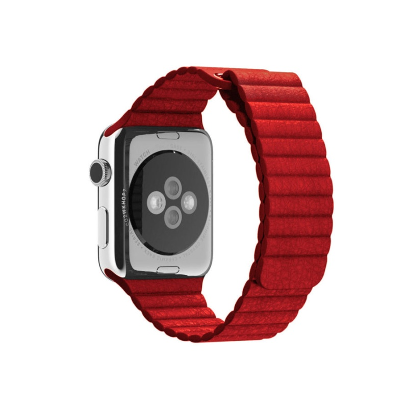 Remienok Leather Loop na Apple Watch 38mm/40mm červený