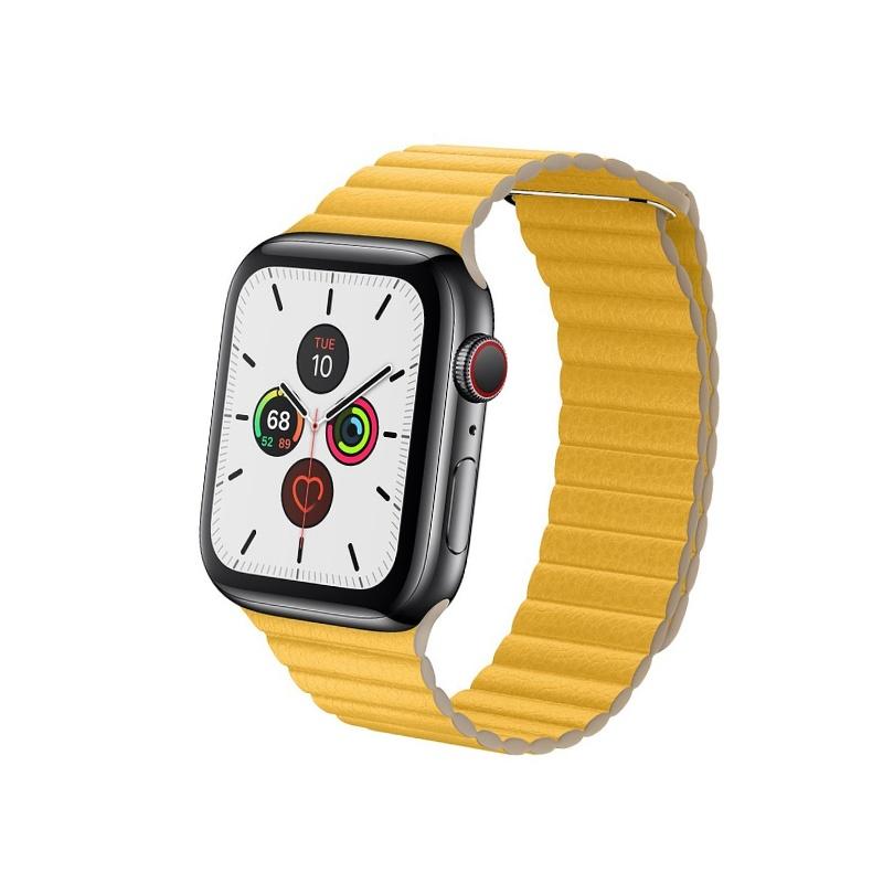 Remienok Leather Loop na Apple Watch 38mm/40mm žltý
