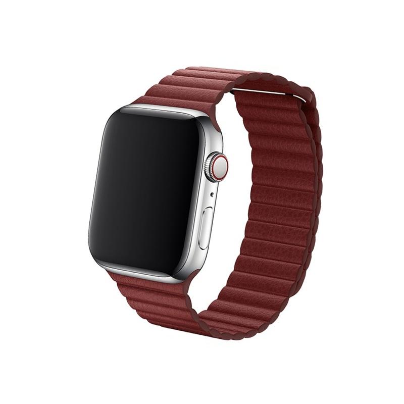 Remienok Leather Loop na Apple Watch 42mm/44mm tmavočervený