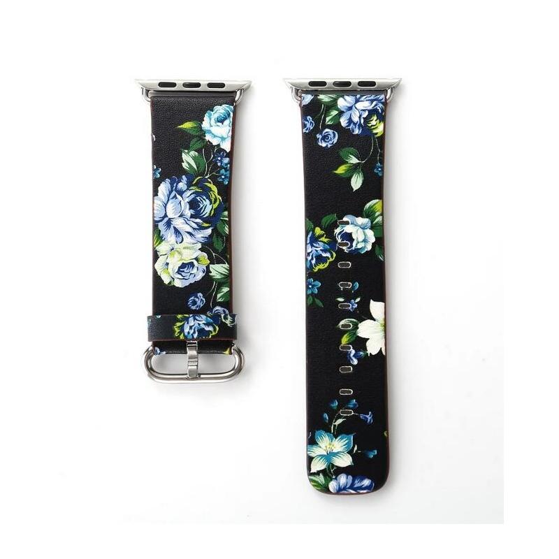 Remienok na Apple Watch 38mm/40mm kožený Black Blue Flowers