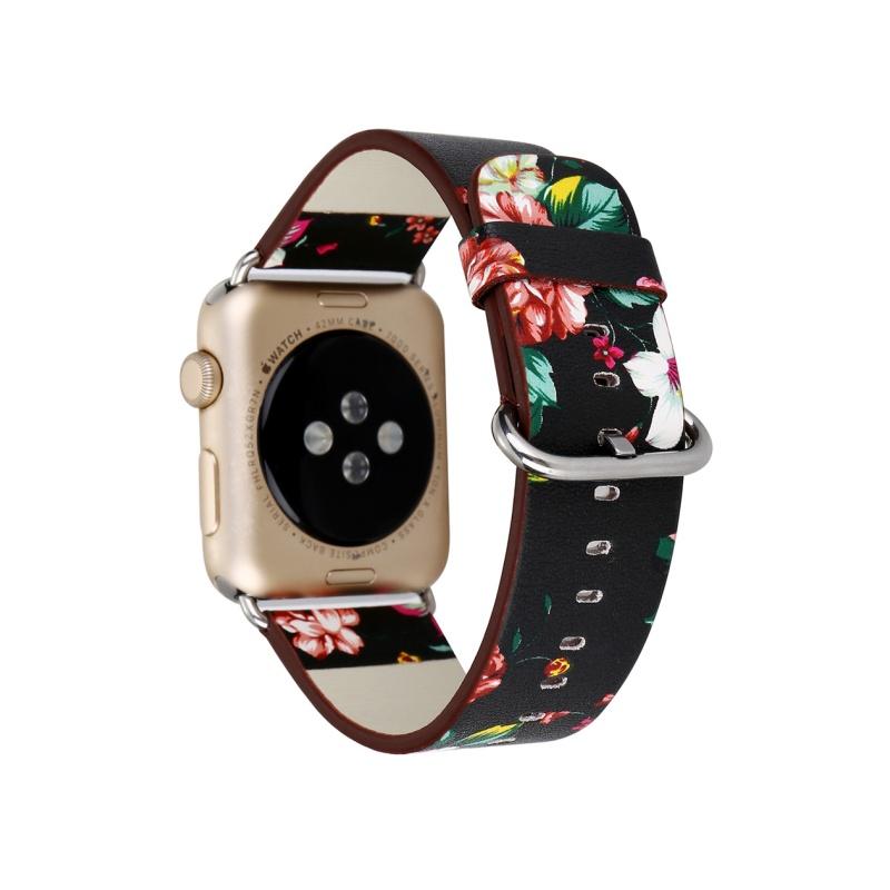 Remienok na Apple Watch 38mm/40mm kožený Black Red Flowers
