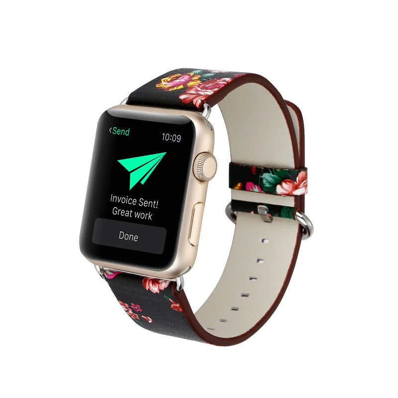 Remienok na Apple Watch 38mm/40mm kožený Black Red Flowers