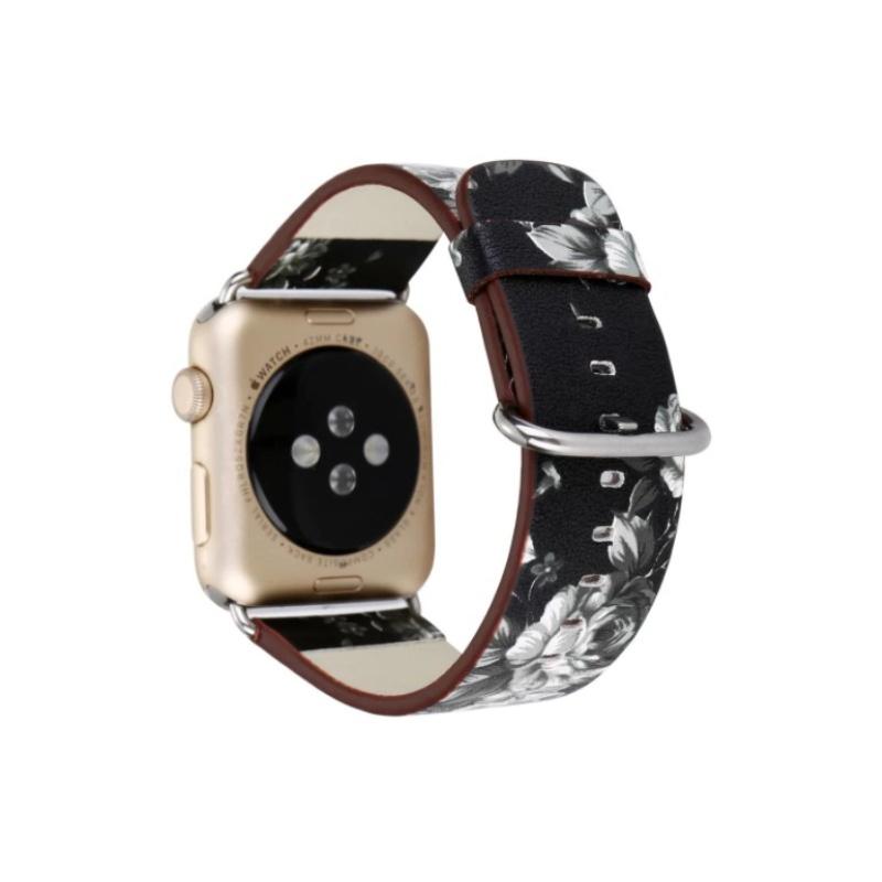 Remienok na Apple Watch 38mm/40mm kožený Black White Flowers
