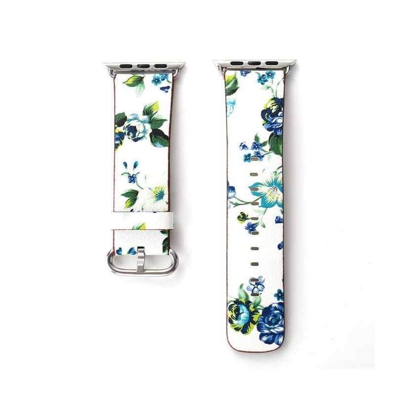 Remienok na Apple Watch 38mm/40mm kožený Blue Flowers