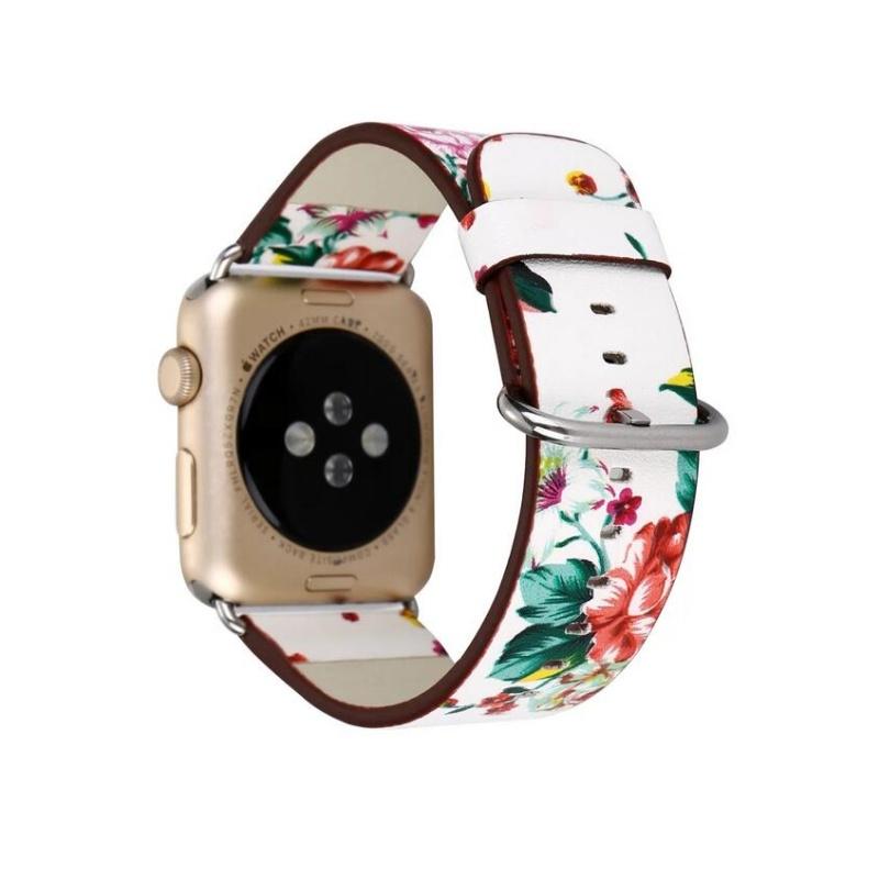 Remienok na Apple Watch 38mm/40mm kožený Red Flowers