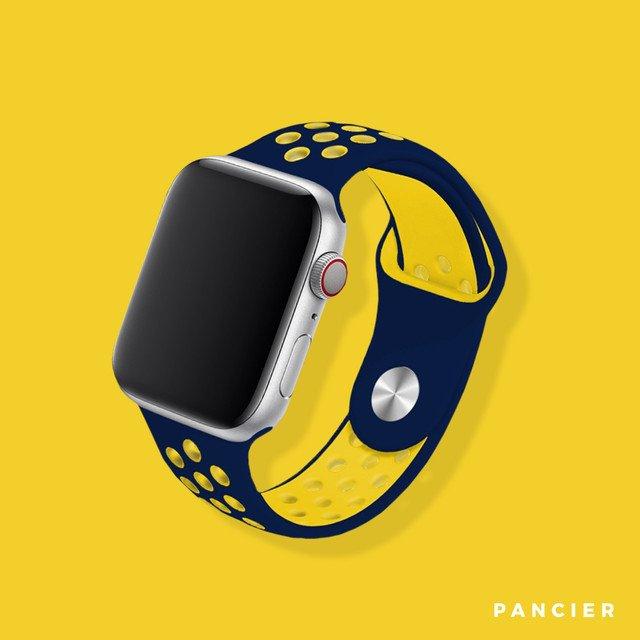 Remienok na Apple Watch 42mm/44mm sport modro-žltý