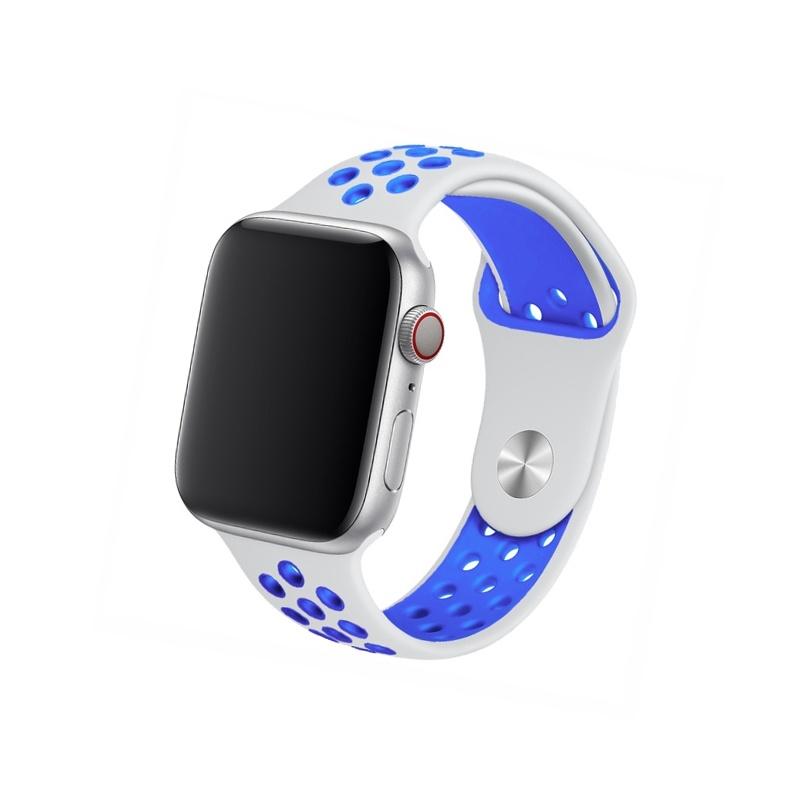 Remienok na Apple Watch 38mm/40mm sport bielo-modrý