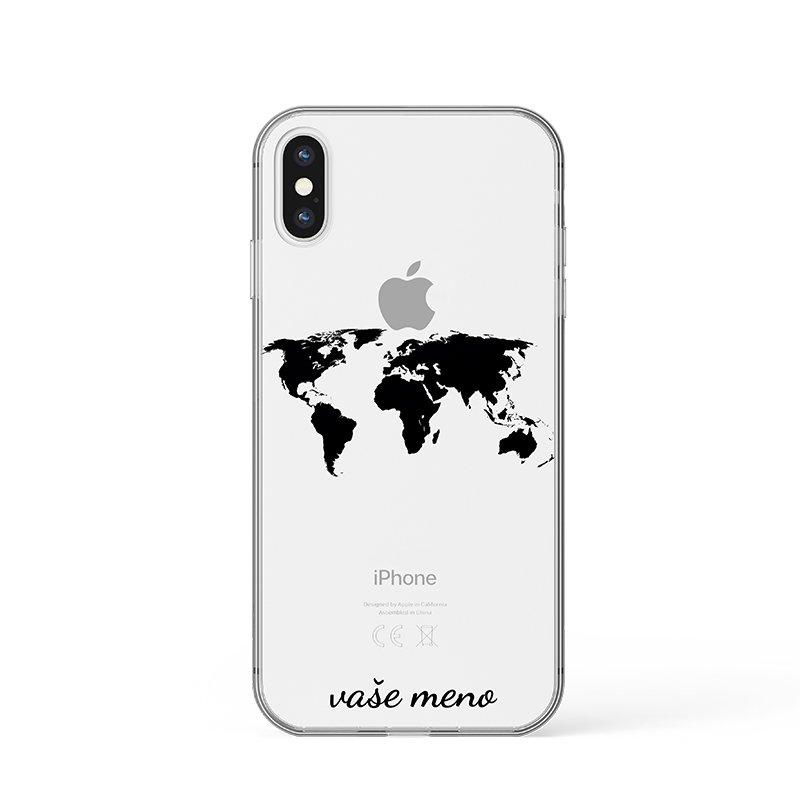 Mapa sveta s menom kryt na iPhone
