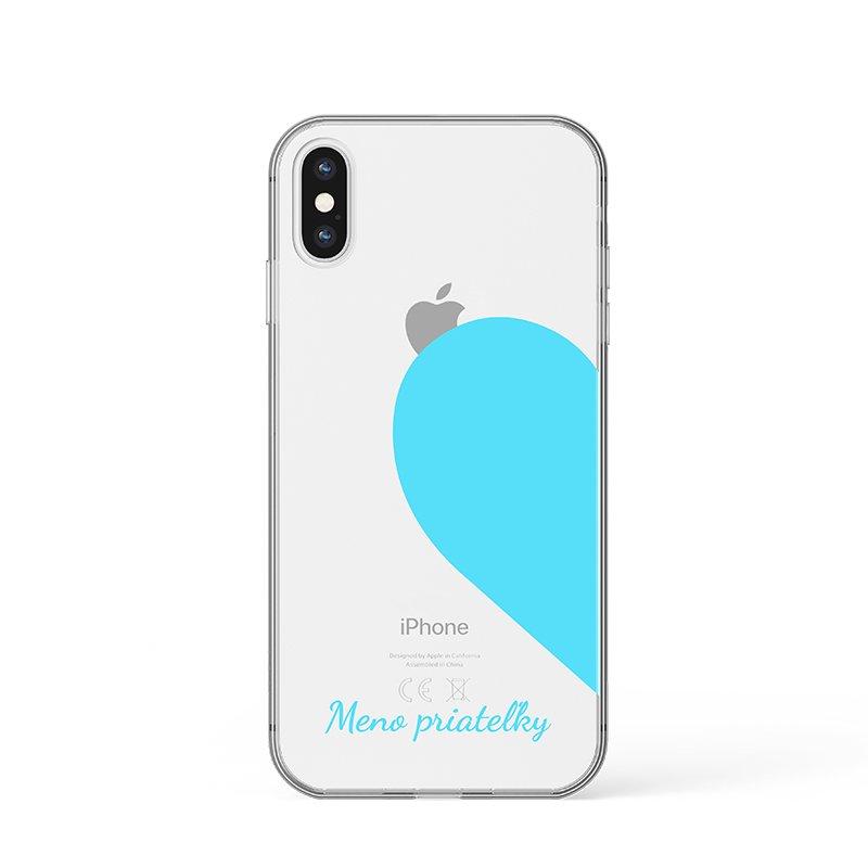 Kryt na iPhone Farebné srdce s menom