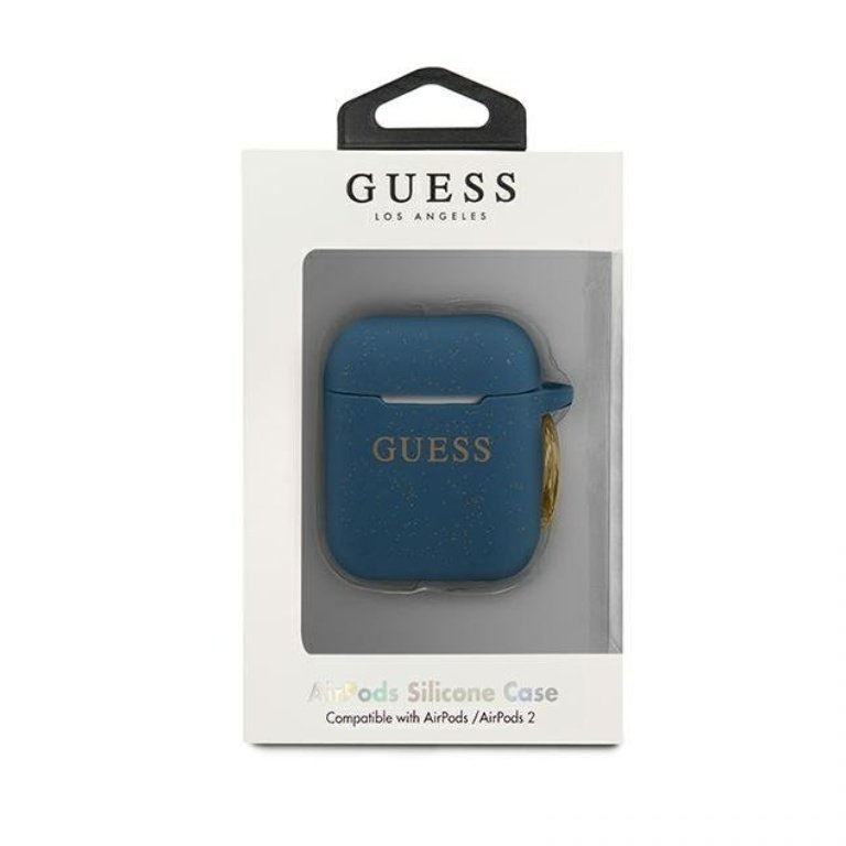 Guess obal na AirPods silikónový modrý