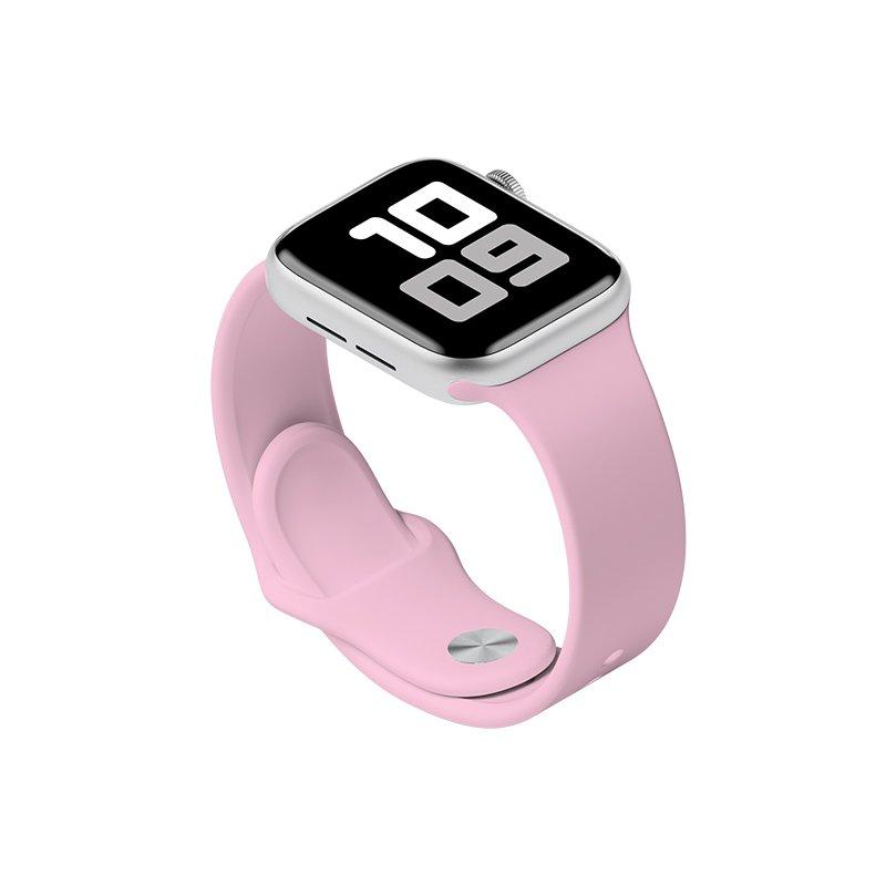 Remienok na Apple Watch 42mm/44mm S/M silikónový Svetlo ružový