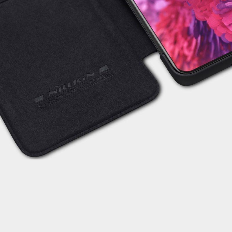 Qin Original Kožené Flip puzdro na Samsung Galaxy S21 Ultra Čierne