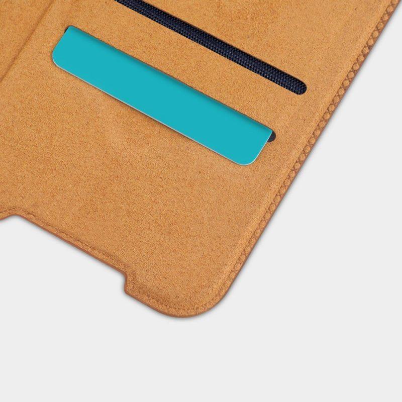 Qin Original Kožené Flip puzdro na Samsung Galaxy S21 Ultra Hnedé