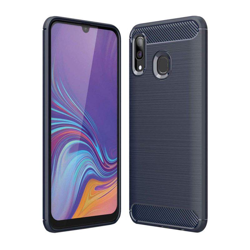 Carbon kryt na Samsung Galaxy A40 Modrý
