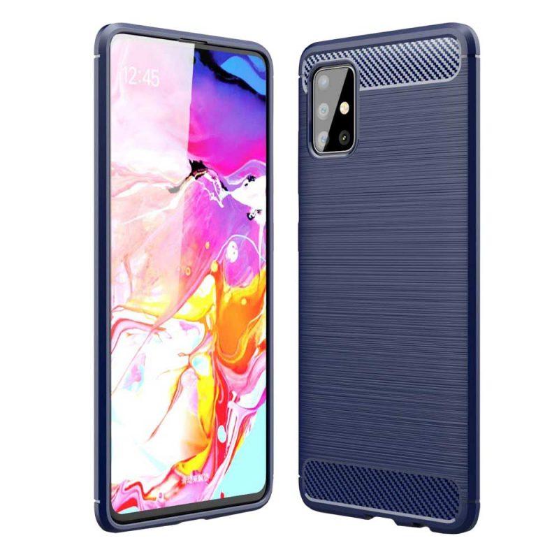 Carbon kryt na Samsung Galaxy A71 Modrý