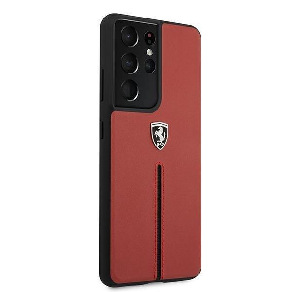 Ferrari kožený kryt na Samsung Galaxy S21 Ultra Červený