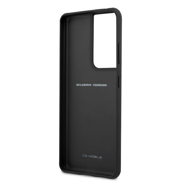Ferrari kožený kryt na Samsung Galaxy S21 Ultra Čierny