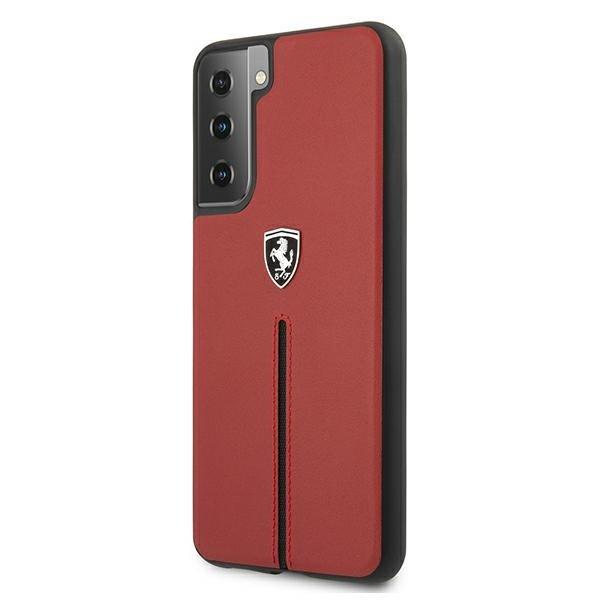 Ferrari kožený kryt na Samsung Galaxy S21 Plus Červený