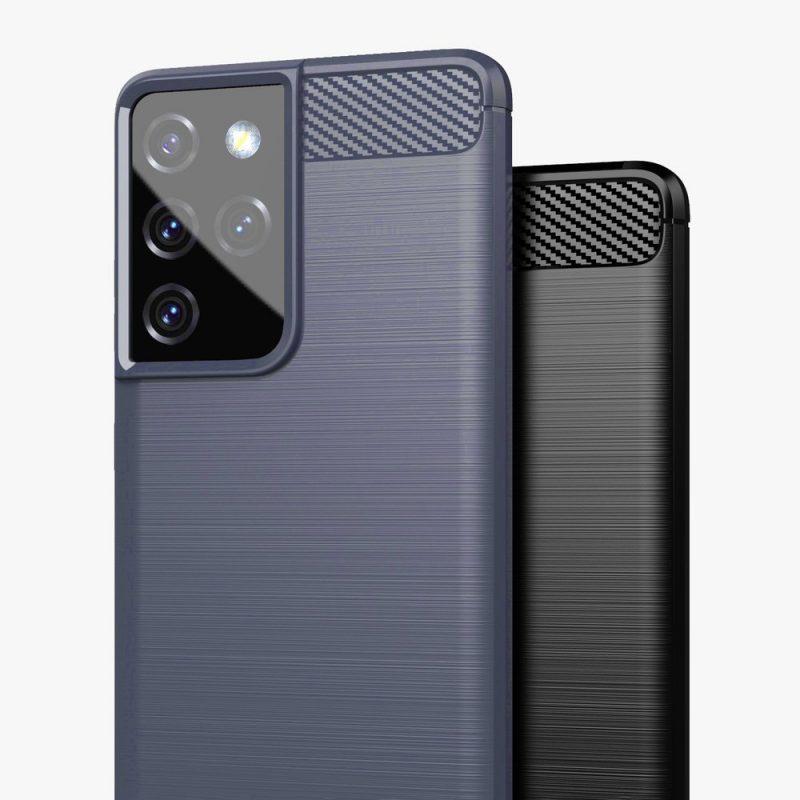 Flexible Carbon kryt na Samsung Galaxy S21 Ultra Modrý