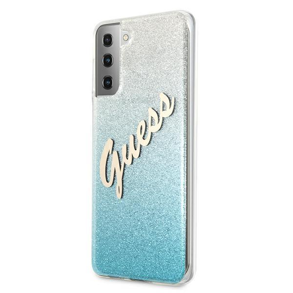 Guess kryt na Samsung Galaxy S21 Plus Blue Glitter Gradient