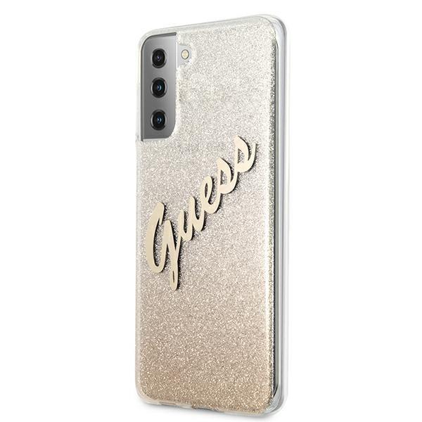 Guess kryt na Samsung Galaxy S21 Plus Gold Glitter Gradient