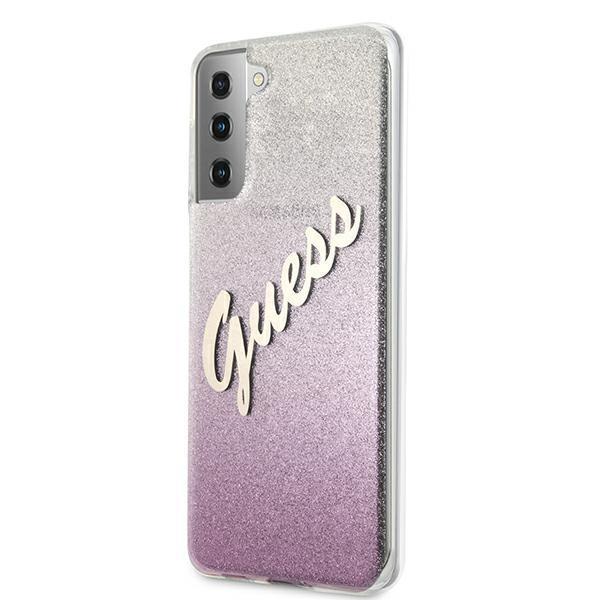 Guess kryt na Samsung Galaxy S21 Plus Pink Glitter Gradient